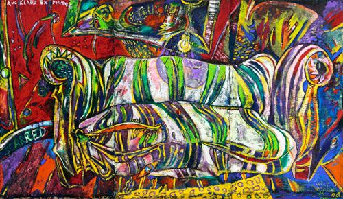 philip clairmont - the scarred couch. 1978.  However threatening this painting…