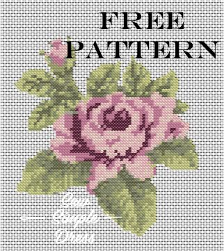 Free summer rose cross stitch pattern