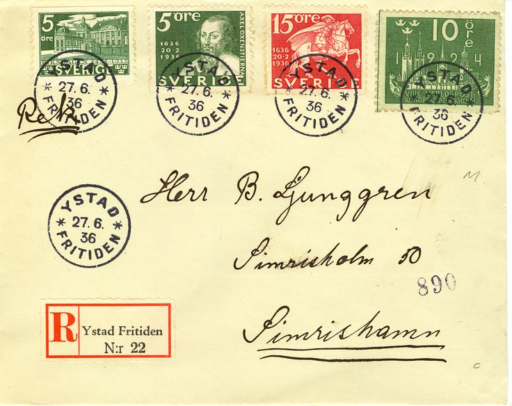Rek-etikett Fritiden 1936 Ystad