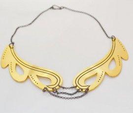 Wave Necklace - Gold Plated - Brass - Fishbone Design Jwls