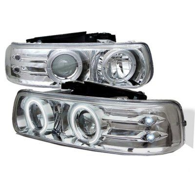 Chevy Silverado 1999-2002 Clear CCFL Halo Projector Headlights with LED
