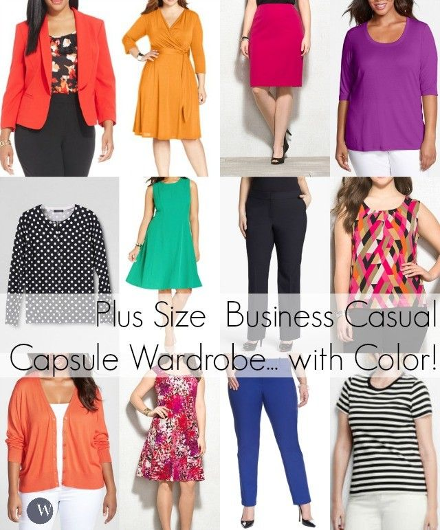 A plus size capsule work wardrobe for a business casual setting or teacher with plenty of color. Tips on how to buy professional plus size fashion for work
