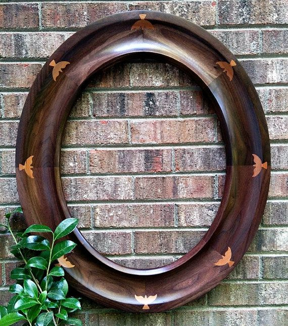 Solid Walnut Oval Picture Frame or Mirror with Cherry Wood Dove Inlays