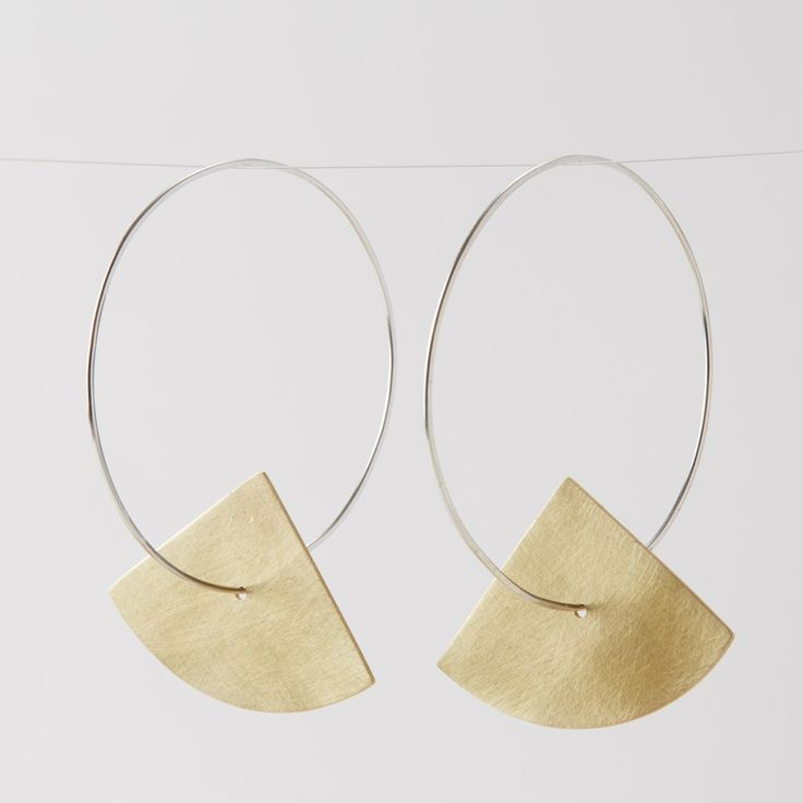 Brass and Sterling Silver Hoop Earrings (large, Fan) via ELLA COOLEY / JEWELLERY. Click on the image to see more!