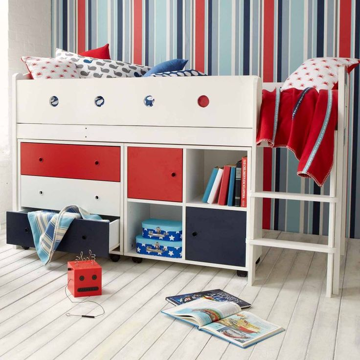 Oodles of storage with a chest of drawers and a storage cupboard with two doors under a full size bed. Arrange at your own discretion!