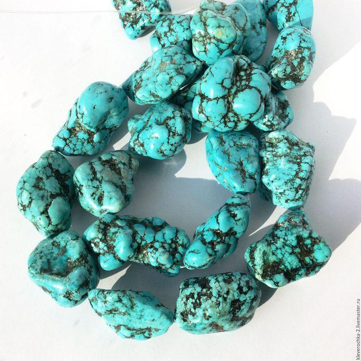 Купить Говлит крупная бирюзовая галтовка бусины камни для украшений - бусины камни бирюза
