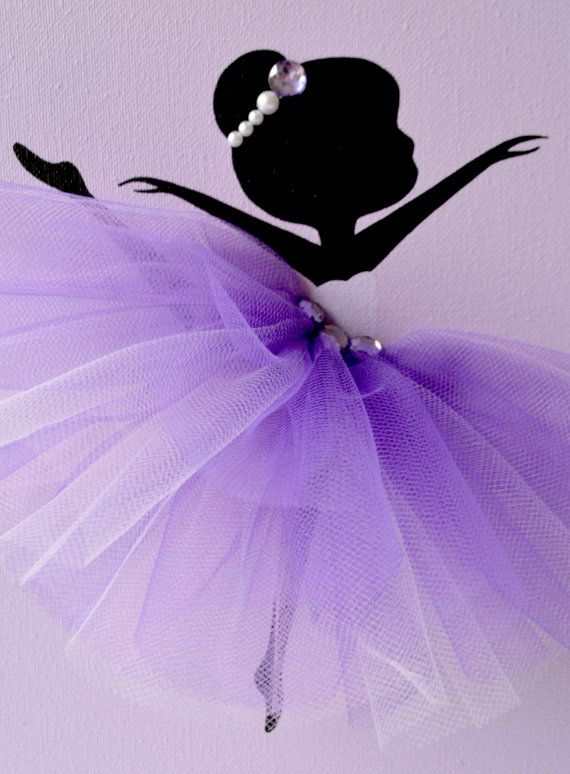 Set of three handmade canvases with Dancing Ballerinas in purple and lavender tutus. Each canvas is 8 X 10. The background and ballerinas are painted with acrylic paint. Dancers are decorated with tulle dresses, beads and rhinestones. If youd like to add ribbons for hanging please click