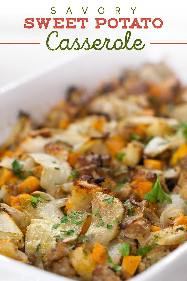 Make a tasty Thanksgiving stuffing by using sweet potatoes. This casserole recipe is so easy and delicious.
