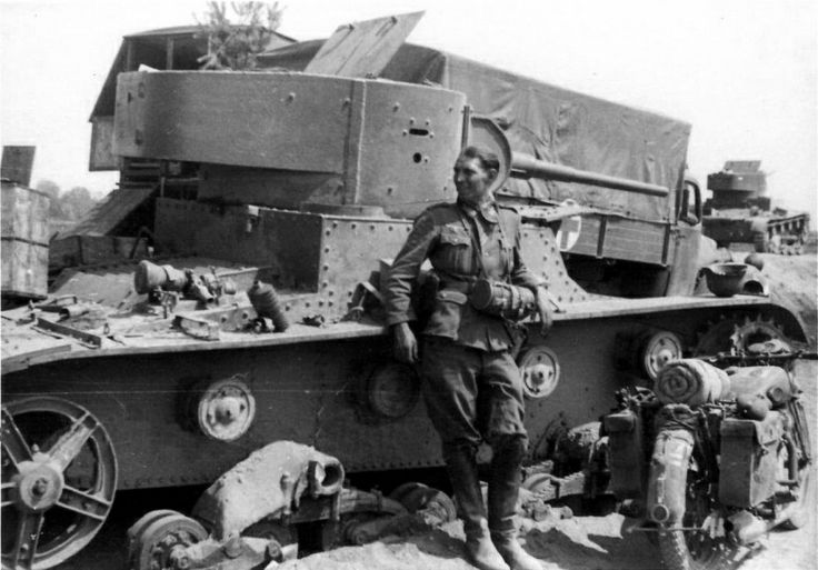 Destroyed Soviet T-26 light tank. One of the most common tanks in the Red Army at the start of WW2.