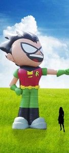 Robin from Teen Titans Go! taking aim at #WBSDCC Lawn Con!