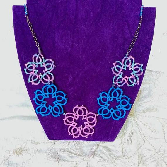 Tatted Flower Necklace  Intense  Blue  Pink  Purple