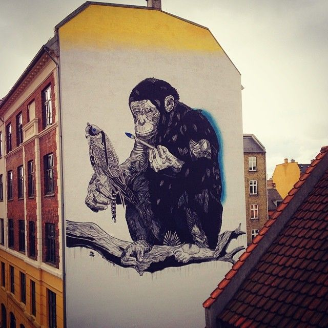 Street art monkey by Don John (DK) for Urban Nation Berlin 2014
