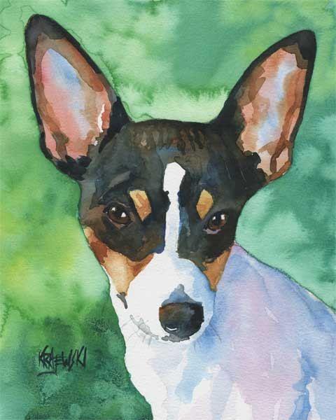 Toy Fox Terrier Art Print of Original Watercolor by dogartstudio