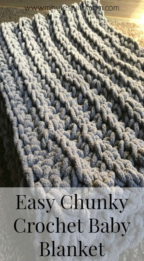 Chunky Crochet Baby Blanket with Pattern! - this pattern is easy to complete in less than an hour!