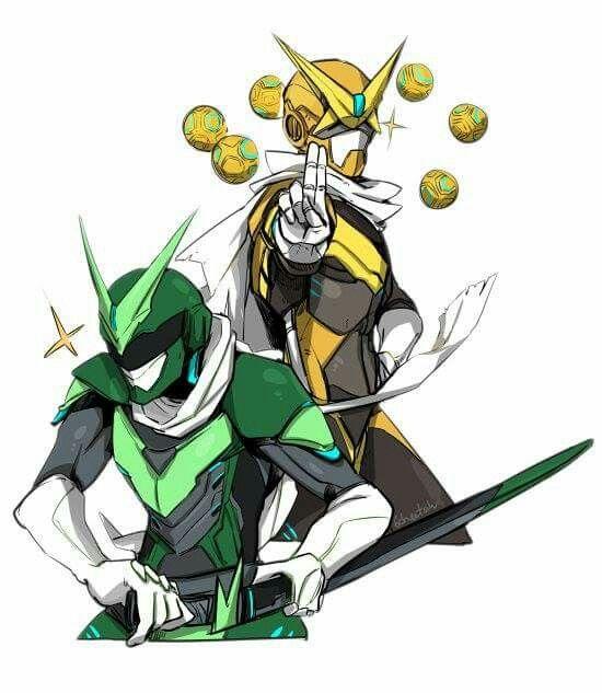 Genji and Zenyatta as power rangers