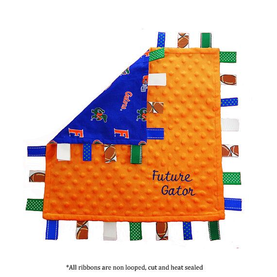 Florida Gator Baby Tag Blanket. This soft lovey made of dotted minky for your babies crib or bassinet. on Etsy, $24.99