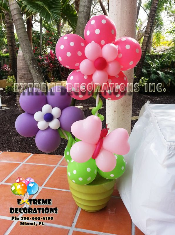 Butterfly Balloons for Baby Shower | Butterflies and flowers Balloon centerpiece and Flower pot
