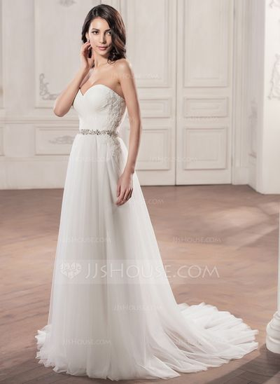A-Line/Princess Sweetheart Court Train Tulle Wedding Dress With Ruffle Beading Appliques Lace Sequins (002058757)