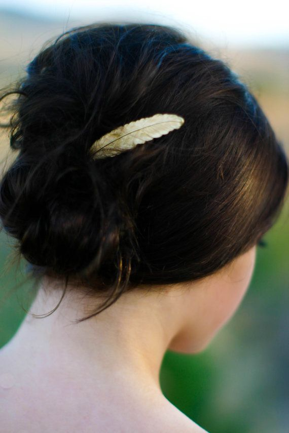 Gold Feather Hair Pin Feather Bobby Pin Gold by luxebuffalo