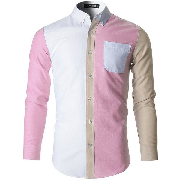 FLATSEVEN Mens Button Down Contrast Cotton Dress Shirt (SH1009) Pink,... ($30) ❤ liked on Polyvore featuring men's fashion, men's clothing, men's shirts and men's dress shirts