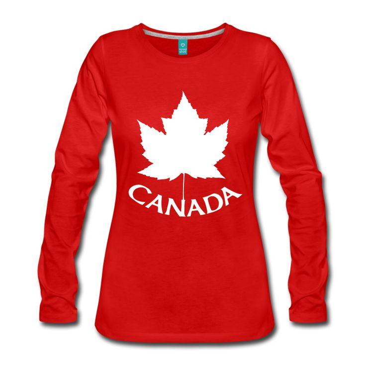 Canada T-Shirts Long Sleeve Canadian Flag Souvenir Shirts Apparel for Men Women Kids