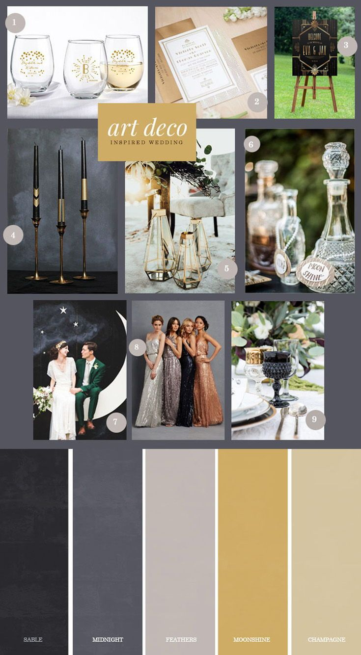 9 Ideas For An Art Deco Inspired Wedding Art Deco Wedding Decor Art Deco Wedding Unique Bridal Shower Themes