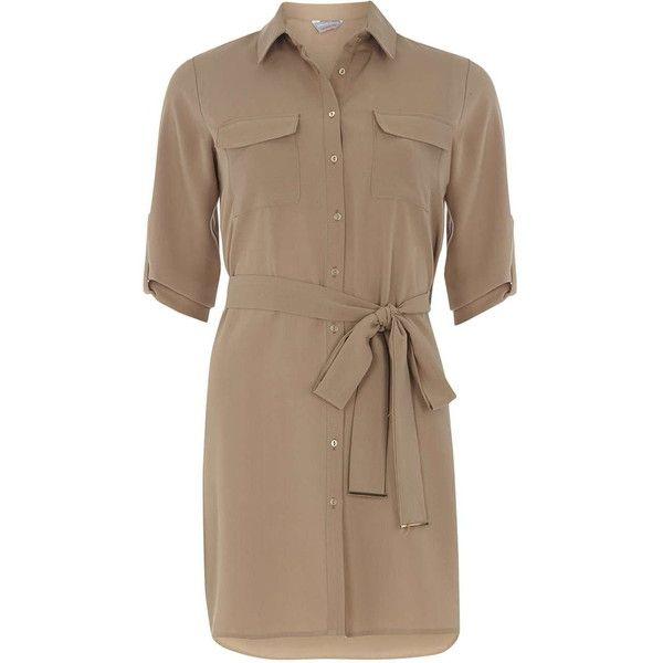 Dorothy Perkins Petite Stone Pocket Shirt dress (£30) ❤ liked on Polyvore featuring dresses, petite, stone, long shirt dress, pocket dress, dorothy perkins, petite shirt dress and petite dresses