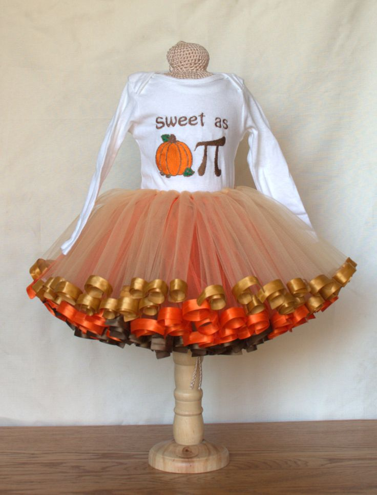 Thanksgiving Tutu and/or Onesie - Infant Thanksgiving, Pumpkin Pie/Pi Tutu, Thanksgiving Costume, Baby Pumpkin Pi outfit, Baby Geek by BnZsDragon on Etsy