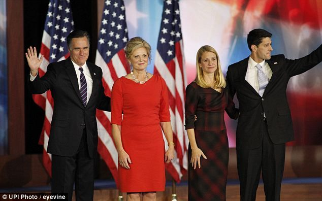 Too soon: Mitt Romney announced that he conceded the race to President Obama and stood on stage with his wife Ann, Paul and Janna Ryan.  I will always love this man!!