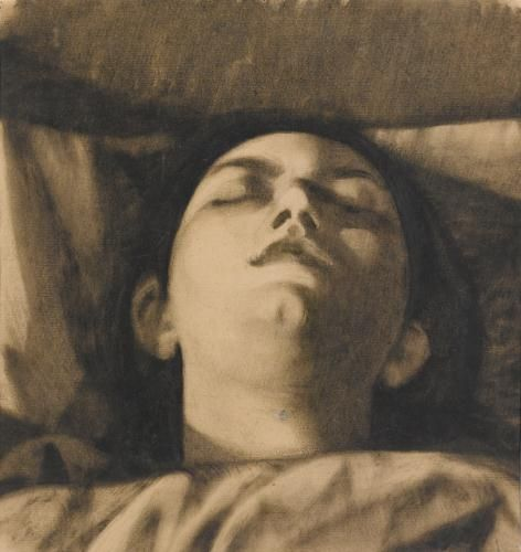 DORMIENTE By Felice Casorati, 1922, oil on paper, 36x33,5cm