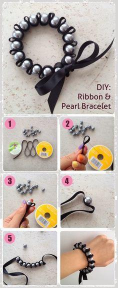 Easy DIY Crafts: DIY Ribbon & Pearl Bracelet