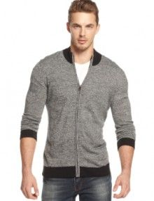 Alfani Big and Tall Palacios Marled Full-Zip Cardigan