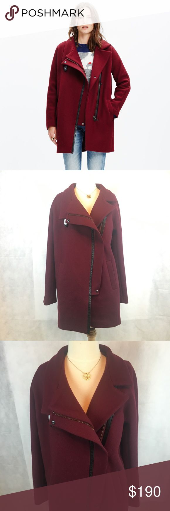 Madewell City Grid Coat Burgundy New with tags City Grid coat size 6, fits like a medium. Could also fit a small as a more oversized look. Burgundy color, never worn. In excellent condition! Leather trim and zipper details. Can be overlapped for colder weather. Madewell Jackets & Coats