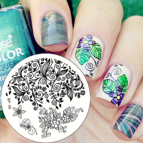 $1.94 Flower Leaf Design Nail Art Stamping Template Image Plate BORN PRETTY BP56 - BornPrettyStore.com