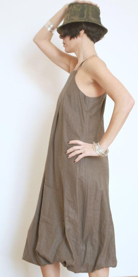 Linen Maxi Dress - Linen Womens Clothing - Olive Green Dress - Casual Dresses -  Large Dress - Loose Fit Dresses - Spaghetti Strap - Linen