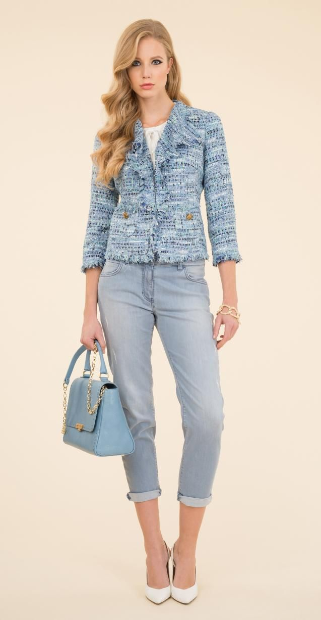 Bouclé fabric jacket, stretch denim boy friend trousers, 5-pockets, Illis bag.