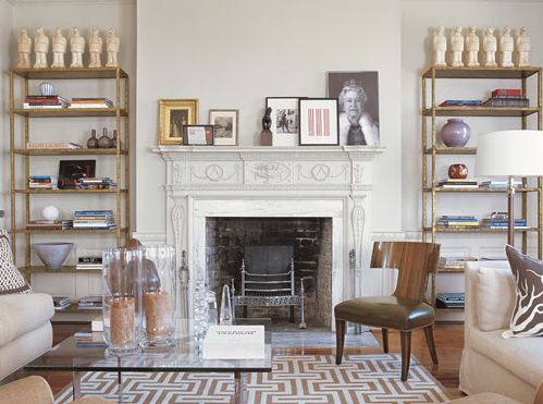 I love the eclecticism apparent in this Neo-Classical mantle surrounded by Art Deco and contemporary pieces designed by Eric Cohler