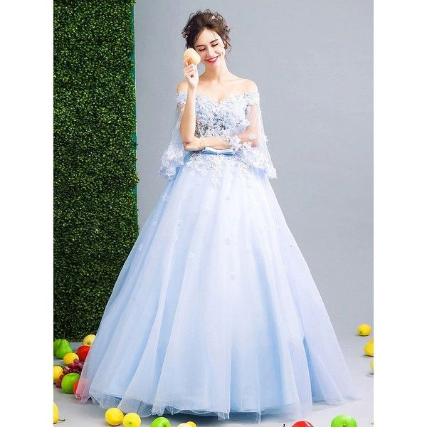 Choies Light Blue Off Shoulder Floral Applique Ball Gown Prom Dress (2.368.760 IDR) ❤ liked on Polyvore featuring dresses, gowns, blue, light blue gown, blue dresses, prom ball gowns, off the shoulder prom dresses and prom dresses