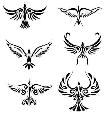Bird tribal tattoo variations