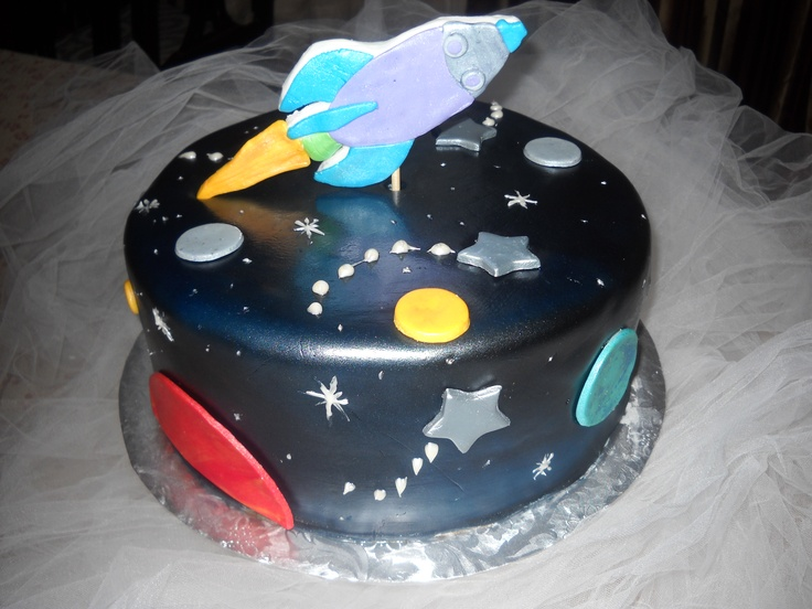 29 best images about rocket ship outer space party on for Outer space cake design