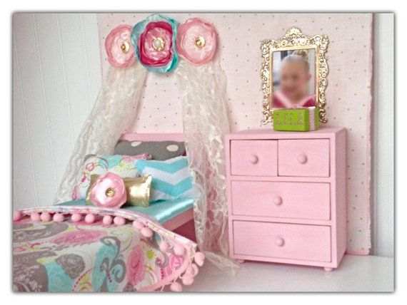 "Bird & paisley amercan girl bedroom set, 18"" doll bed, american girl bed, doll furniture, american girl furniture, doll bed, doll bedding"