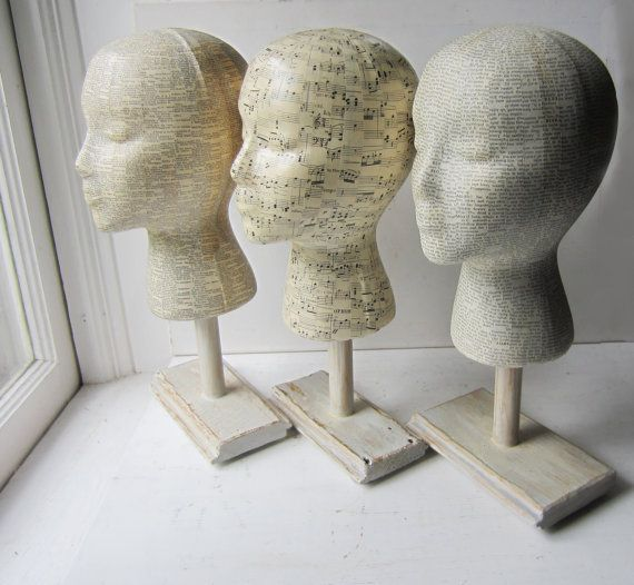 Mannequin Head Hat Display With Base Stand- Your Choice - Dictionary  - Sheet Music - Vintage Text - Made to Order