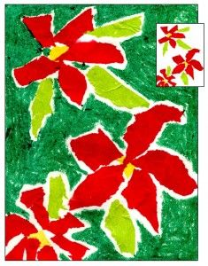 Torn tissue paper poinsettias decopodged down and oil pastels background