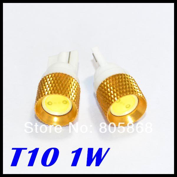 Бесплатная доставка T10 1 Вт свет Высокая Мощность золотые жилы Автомобильные Светодиодные T10/W5W/194 1 Вт LED интерьер автомобиля лампочки