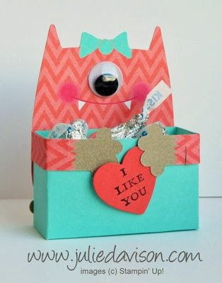 Julie's Stamping Spot -- Stampin' Up! Project Ideas Posted Daily: Control Freaks Tour: Valentine Monster Hugs