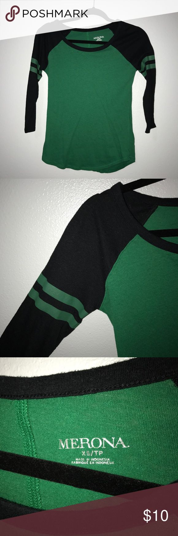 Green + Navy Baseball Tee Women's baseball tee from target. Size medium, true to size. Only worn a couple times. Merona Tops Tees - Short Sleeve