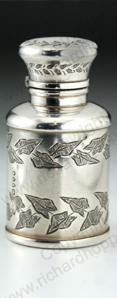 ANTIQUE 1877 IVY ENGRAVED STERLING SILVER SCENT PERFUME BOTTLE Price: £385.00. For more information about this item click here: http://www.richardhoppe.co.uk/item.php?id=1936 or email us here: info@richardhoppe.co.uk