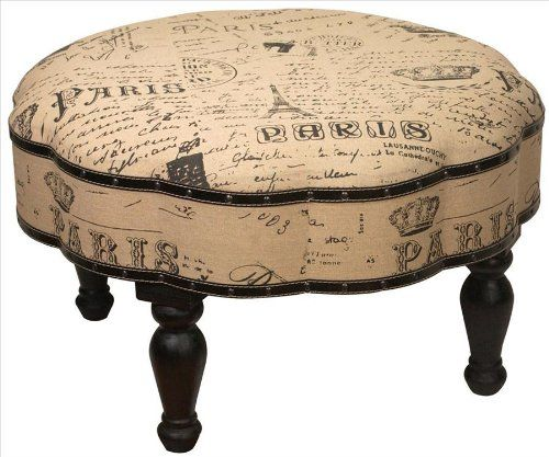 Vintage Look Paris Themed 30  Diameter Ottoman Foot Stool  sc 1 st  Pinterest : round foot stools - islam-shia.org