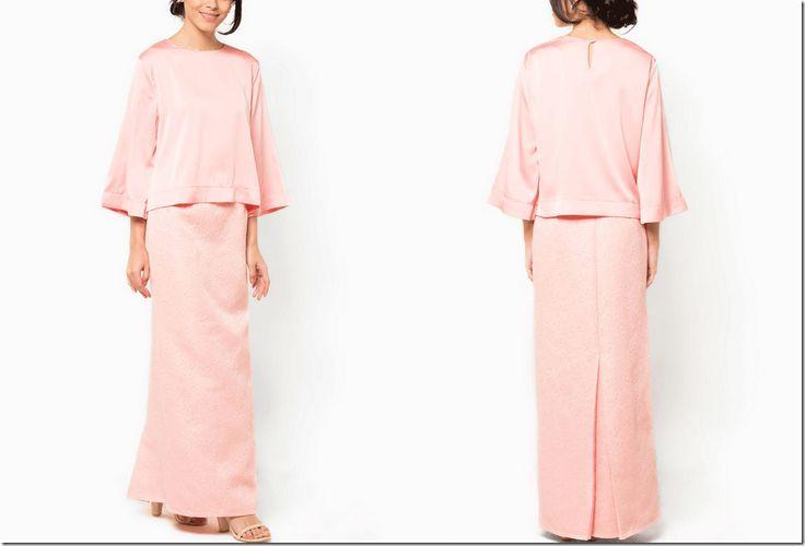 blush pink baju kurung modern for Eid/Raya 2015