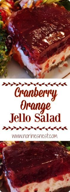 Layers of crunchy pecan crust, creamy cream cheese and whipped topping and a beautiful jeweled orange cranberry gelatin make up this delightfully delicious Holiday Salad.